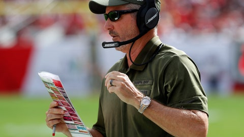 <p>               Tampa Bay Buccaneers head coach Dirk Koetter calls in a play against the Washington Redskins during the first half of an NFL football game Sunday, Nov. 11, 2018, in Tampa, Fla. (AP Photo/Mark LoMoglio)             </p>