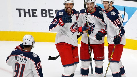 <p>               Columbus Blue Jackets' Anthony Duclair (91), Seth Jones (3), Oliver Bjorkstrand (28), and Alexander Wennberg (10) celebrate a goal against the San Jose Sharks during the second period of an NHL hockey game in San Jose, Calif., Thursday, Nov. 1, 2018. (AP Photo/Josie Lepe)             </p>