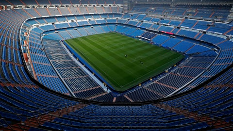 <p>               A general view of the Santiago Bernabeu stadium in Madrid, Spain, Friday, Nov. 30, 2018. The twice-postponed Copa Libertadores final between Argentina archrivals Boca Juniors and River Plate will be played in Madrid on Dec. 9. The second leg was supposed to be played last Saturday, but Boca players were injured when their bus was attacked by River fans. (AP Photo/Manu Fernandez)             </p>