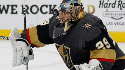 <p>               Vegas Golden Knights goaltender Marc-Andre Fleury makes a save against the San Jose Sharks during the first period of an NHL hockey game Saturday, Nov. 24, 2018, in Las Vegas. (AP Photo/John Locher)             </p>