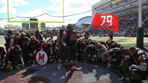 <p>               Maryland players kneel and honor their deceased teammate Jordan McNair (79) before an NCAA college football game against Michigan State, Saturday, Nov. 3, 2018, in College Park, Md. (AP Photo/Gary Cameron)             </p>