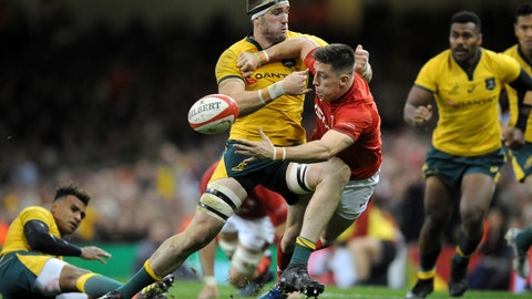 <p>               Wales Josh Adams, right, passes the ball as Australia's Izack Rodda comes in for the tackle during the rugby union international match between Wales and Australia at the Principality Stadium in Cardiff, Wales, Saturday, Nov. 10, 2018. (AP Photo/Rui Vieira)             </p>