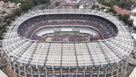 <p>               FILE - In this June 27, 2018, file photo, supporters of presidential candidate Andres Manuel Lopez Obrador, of the MORENA party, fill Azteca stadium as they wait for him to arrive for his closing campaign rally in Mexico City. The abused hybrid grass of the Azteca Stadium is generating concerns for its poor condition a week before it hosts an NFL regular-season game between the Los Angeles Rams and the Kansas City Chiefs. Last May, stadium authorities changed the surface from natural to hybrid. But the intense activity in the last few months has prevented the grass from reaching an optimum state. (AP Photo/Christian Palma, File)             </p>