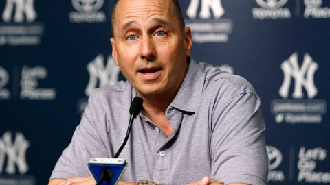 <p>               FILE - In this July 31, 2017, file photo, New York Yankees general manager Brian Cashman speaks during a news conference in New York. Cashman wants to bring CC Sabathia back for an 11th season with the Yankees and also hopes to re-sign J.A. Happ but sounds less confident. (AP Photo/Kathy Willens, File)             </p>