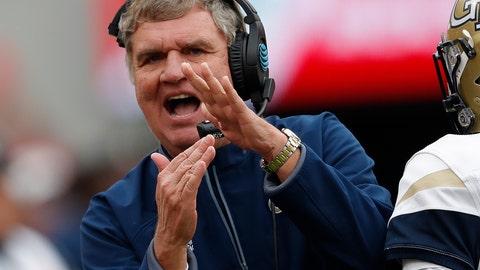 <p>               Georgia Tech head coach Paul Johnson calls for a timeout during the second half of an NCAA college football game against Georgia, Saturday, Nov. 24, 2018, in Athens, Ga. Georgia won 45-21. (AP Photo/John Bazemore)             </p>