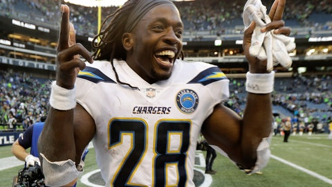 <p>               Los Angeles Chargers running back Melvin Gordon (28) celebrates after an NFL football game against the Seattle Seahawks, Sunday, Nov. 4, 2018, in Seattle. (AP Photo/Ted S. Warren)             </p>