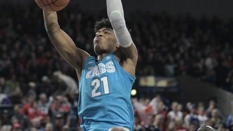 <p>               Gonzaga forward Rui Hachimura dunks over Idaho State in the first half of an NCAA college basketball game Tuesday, Nov. 6, 2018, in Spokane, Wash. (AP Photo/Brian Plonka)             </p>