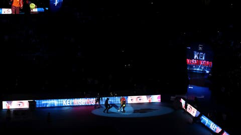 <p>               Japan's Kei Nishikori enters the court for the men's singles match against Austria's Dominic Thiem on day five of the ATP Finals at The O2 Arena, London, Thursday Nov. 15, 2018. (John Walton/PA via AP)             </p>