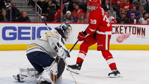 <p>               Buffalo Sabres goaltender Linus Ullmark (35) stops a shot-on-goal by Detroit Red Wings right wing Anthony Mantha (39) during the second period of an NHL hockey game, Saturday, Nov. 24, 2018, in Detroit. (AP Photo/Carlos Osorio)             </p>
