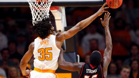 <p>               Tennessee forward Yves Pons (35) blocks the shot of Louisiana-Lafayette guard Marcus Stroman (35) during the first half of an NCAA college basketball game Friday, Nov. 9, 2018, in Knoxville, Tenn. (AP photo/Wade Payne)             </p>