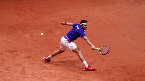 <p>               France's Jo-Wilfried Tsonga returns the ball to Croatia's Marin Cilic during the Davis Cup final between France and Croatia, Friday, Nov. 23, 2018 in Lille, northern France. (AP Photo/Thibault Camus)             </p>