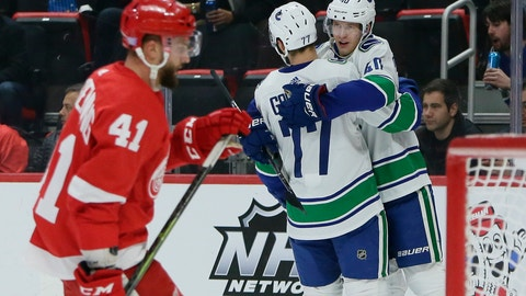 <p>               Vancouver Canucks center Elias Pettersson (40), of Sweden, celebrates his first period goal with right wing Nikolay Goldobin (77), of Russia, as Detroit Red Wings center Luke Glendening (41) skates away during an NHL hockey game Tuesday, Nov. 6, 2018, in Detroit. (AP Photo/Duane Burleson)             </p>