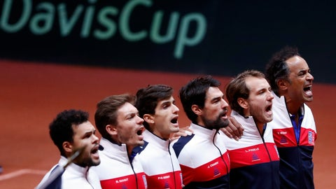 <p>               The French team, from the left, France's Jo-Wilfried Tsonga, Pierre Hughes Herbert, Nicolas Mahut, Jeremy Chardy , Lucas Pouille and team captain Yannick Noah sing the national anthem before the Davis Cup final between France and Croatia Sunday, Nov. 25, 2018 in Lille, northern France. (AP Photo/Thibault Camus)             </p>