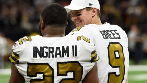 <p>               New Orleans Saints quarterback Drew Brees (9) talks with running back Mark Ingram (22) in the second half of an NFL football game against the Philadelphia Eagles in New Orleans, Sunday, Nov. 18, 2018. (AP Photo/Bill Feig)             </p>