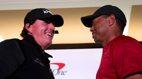 <p>               Phil Mickelson, left, and Tiger Woods face off during a news conference at Shadow Creek Golf Course in North Las Vegas Tuesday, Nov. 20, 2018. The golfers will face off in a match play event on Friday. (Steve Marcus/Las Vegas Sun via AP)             </p>