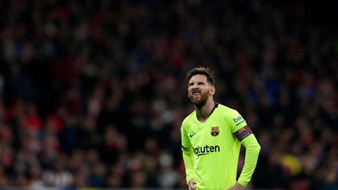 <p>               Barcelona's Lionel Messi reacts during a Spanish La Liga soccer match between Atletico Madrid and FC Barcelona at the Metropolitano stadium in Madrid, Saturday, Nov. 24, 2018. (AP Photo/Manu Fernandez)             </p>