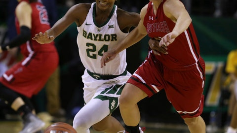 <p>               Saint Francis guard Karson Swogger, right, and Baylor guard Chloe Jackson chase the ball during the first half of an NCAA college basketball game Thursday, Nov. 8, 2018, in Waco, Texas. (AP Photo/Rod Aydelotte)             </p>