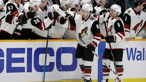 <p>               Arizona Coyotes center Nick Schmaltz (8) is congratulated after scoring a goal against the Nashville Predators in the second period of an NHL hockey game Thursday, Nov. 29, 2018, in Nashville, Tenn. (AP Photo/Mark Humphrey)             </p>