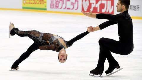 <p>               Nicole Della Monica and Matteo Guarise of Italy perform their routine during the pairs' short program at the figure skating Helsinki Grand Prix event in Helsinki, Finland, Friday, Nov. 2, 2018. (Markku Ulander/Lehtikuva via AP)             </p>