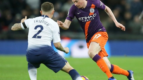 <p>               Manchester City's Kevin De Bruyne drives the ball past Tottenham's Kieran Trippier, left, during the English Premier League soccer match between Tottenham Hotspur and Manchester City at Wembley stadium in London, England, Monday, Oct. 29, 2018. (AP Photo/Tim Ireland)             </p>