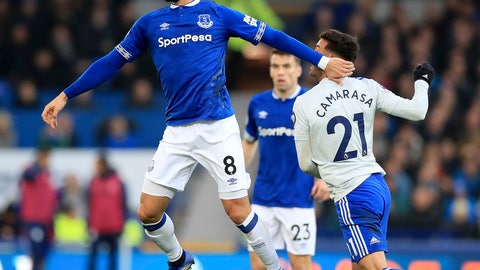 <p>               Everton's Andre Gomes, left, and Cardiff City's Victor Camarasa vie for the ball during a Premier League soccer match between Everton and Cardiff, at Goodison Park, Liverpool, Saturday, Nov. 24, 2018. (Peter Byrne/PA via AP)             </p>