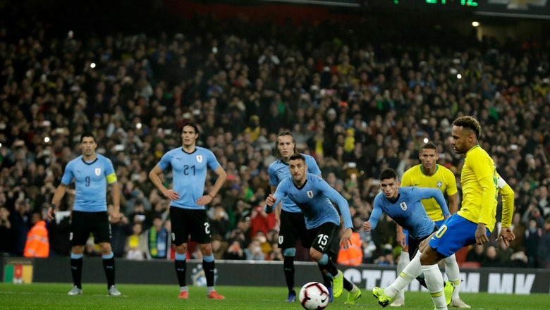 Neymar scores from spot for Brazil to beat Uruguay 1-0