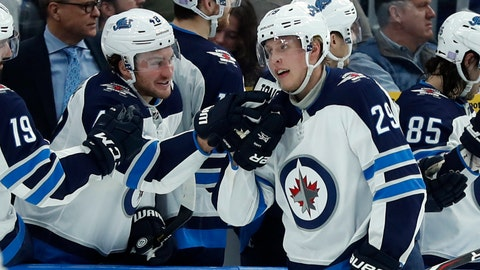 <p>               Winnipeg Jets' Patrik Laine (29), of Finland, is congratulated by Brendan Lemieux after scoring during the second period of an NHL hockey game against the St. Louis Blues, Saturday, Nov. 24, 2018, in St. Louis. (AP Photo/Jeff Roberson)             </p>