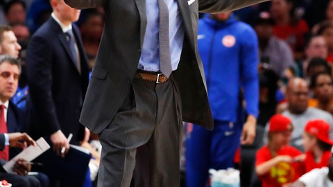 <p>               Detroit Pistons coach Dwane Casey reacts during the second half of the team's NBA basketball game against the Atlanta Hawks on Friday, Nov. 9, 2018, in Atlanta. (AP Photo/Todd Kirkland)             </p>