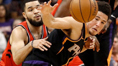 <p>               Phoenix Suns guard Devin Booker, right, and Toronto Raptors guard Fred VanVleet battle for the ball during the first half of an NBA basketball game, Friday, Nov. 2, 2018, in Phoenix. (AP Photo/Matt York)             </p>