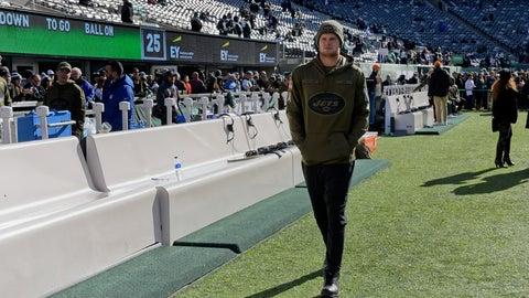 <p>               FILE - In this Nov. 11, 2018, file photo, New York Jets quarterback Sam Darnold walks the sidelines before an NFL football game against the Buffalo Bills, in East Rutherford, N.J.  Jets quarterback Sam Darnold is sitting out the team's first practice after its bye-week break while he continues to recover from a foot strain. The rookie was in a green Jets cap and sweats as practice began Monday, Nov. 19, 2018, and he mostly watched from the side while Josh McCown and Davis Webb threw passes in individual drills. He is no longer wearing a boot on his right foot, which is a positive sign. (AP Photo/Bill Kostroun, File)             </p>