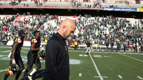 <p>               FILE - In this Saturday, Nov. 3, 2018, file photo, Maryland interim head coach Matt Canada walks off the field with his squad after losing 24-3 to Michigan State in an NCAA college football game in College Park, Md. Canada faces an uncertain future, despite keeping the football team together and forging a winning record amid the chaos surrounding the program.(AP Photo/Gary Cameron, File)             </p>