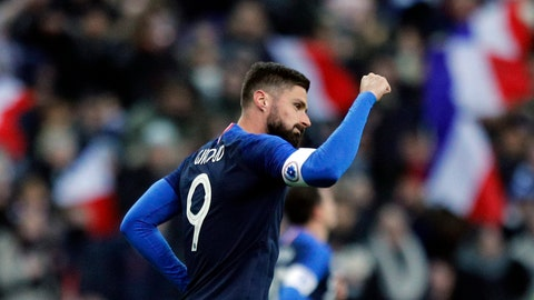 <p>               France's Olivier Giroud celebrates scoring the opening goal on a penalty kick during an international friendly soccer match between France and Uruguay at the Stade de France stadium in Saint-Denis, outside Paris, Tuesday, Nov. 20, 2018. (AP Photo/Francois Mori)             </p>