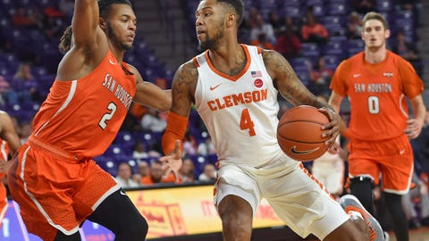 <p>               Clemson's Shelton Mitchell works against Sam Houston State's Cameron Delaney during the first half of an NCAA college basketball game Wednesday, Nov. 14, 2018, in Clemson, S.C. (AP Photo/Richard Shiro)             </p>