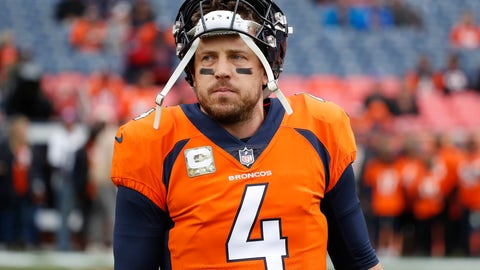 <p>               FILE - In this Nov. 4, 2018, file photo, Denver Broncos quarterback Case Keenum (4) warms up prior to an NFL football game against the Houston Texans in Denver. The Broncos quarterback is off to a rocky start in the shadows of John Elway, Peyton Manning and the Rocky Mountains. (AP Photo/Jack Dempsey, File)             </p>