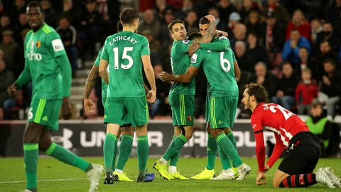 <p>               Watford's Jose Holebas, second right, celebrates scoring his side's first goal of the game with team mates during the English Premier League soccer match between Southampton and Watford at Saint Mary's stadium, Southampton, England. Saturday Nov. 10 2018 (Mark Kerton/PA via AP)             </p>