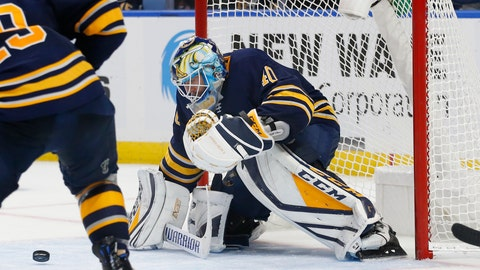 <p>               Buffalo Sabres goalie Carter Hutton (40) makes a save during the second period of an NHL hockey game against the San Jose Sharks, Tuesday, Nov. 27, 2018, in Buffalo N.Y. (AP Photo/Jeffrey T. Barnes)             </p>