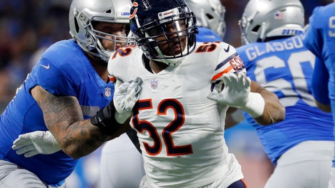 <p>               FILE - In this Nov. 22, 2018, file photo, Chicago Bears outside linebacker Khalil Mack (52) rushes against the Detroit Lions during the first half of an NFL football game in Detroit. Want to get the New York Giants' attention this week. Just mention Mack. He has been a force in his first year with the Bears (8-3) and is expected to be a major obstacle for the Giants (3-8) Sunday.  (AP Photo/Paul Sancya, File)             </p>