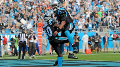 <p>               Carolina Panthers' Curtis Samuel (10) and Cam Newton (1) celebrates their touchdown against the Tampa Bay Buccaneers in the second half of an NFL football game in Charlotte, N.C., Sunday, Nov. 4, 2018. (AP Photo/Mike McCarn)             </p>