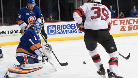 <p>               New York Islanders goaltender Thomas Greiss (1) makes the save against New Jersey Devils right wing Kurtis Gabriel (39) during the first period of an NHL hockey game, Saturday, Nov. 3, 2018, in New York. (AP Photo/Mary Altaffer)             </p>