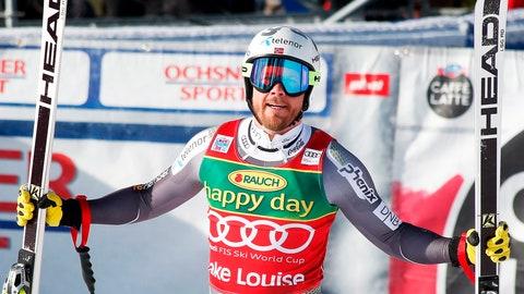 <p>               Kjetil Jansrud, of Norway, reacts in the finish area at the men's World Cup super-G ski race at Lake Louise, Alberta, Sunday, Nov. 25, 2018. (Jeff McIntosh/The Canadian Press via AP)             </p>