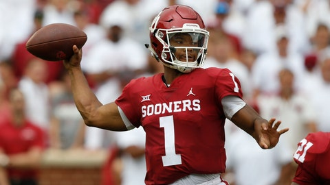 <p>               FILE - In this Sept. 8, 2018, file photo, Oklahoma quarterback Kyler Murray (1) throws during an NCAA college football game between UCLA and Oklahoma in Norman, Okla. Oklahoma's Kyler Murray, West Virginia's Will Grier, Iowa State's Brock Purdy and Sam Ehlinger of Texas have been impressive and could determine which teams makes it to the Dec. 1 title game in Arlington, Texas. (AP Photo/Sue Ogrocki, File)             </p>