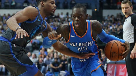 <p>               Dallas Mavericks guard Dennis Smith Jr. (1) defends against the drive by Oklahoma City Thunder guard Dennis Schroder (17) in the first half of an NBA basketball game Saturday, Nov. 10, 2018, in Dallas. (AP Photo/Richard W. Rodriguez)             </p>