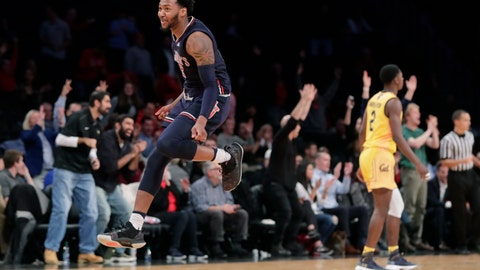 <p>               St. John's Shamorie Ponds (2) celebrates after making a three-point basket during the second half of an NCAA college basketball game against California in the Legends Classic tournament Monday, Nov. 19, 2018, in New York. (AP Photo/Frank Franklin II)             </p>