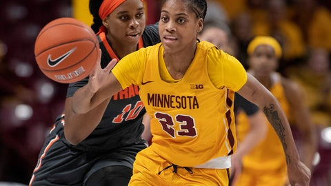 <p>               Minnesota's Kenisha Bell (23) brings the ball up as Syracuse's Marie-Paule Foppossi trails during the first half of an NCAA college basketball game Thursday, Nov. 29, 2018, in Minneapolis. (Carlos Gonzalez/Star Tribune via AP)             </p>