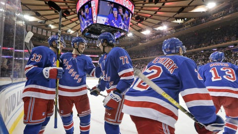 <p>               The New York Rangers celebrate a goal by Kevin Hayes during the second period of the NHL hockey game against the New York Islanders, Wednesday, Nov. 21, 2018, in New York. (AP Photo/Seth Wenig)             </p>