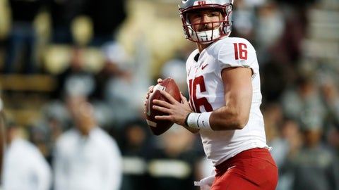 <p>               Washington State quarterback Gardner Minshew looks to pass the ball against Colorado in the second half of an NCAA college football game Saturday, Nov. 10, 2018, in Boulder, Colo. Washington State won 31-7. (AP Photo/David Zalubowski)             </p>