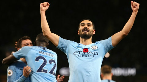 <p>               Manchester City's Ilkay Gundogan celebrates after scoring his side's third goal during the English Premier League soccer match between Manchester City and Manchester United at the Etihad stadium in Manchester, England, Sunday, Nov. 11, 2018. (AP Photo/Dave Thompson)             </p>