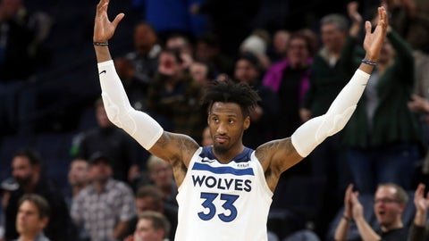 <p>               Newly acquired Minnesota Timberwolves' Robert Covington encourages the crowd in the final moments of an NBA basketball game against the New Orleans Pelicans Wednesday, Nov. 14, 2018, in Minneapolis. The Timberwolves won 107-100. (AP Photo/Jim Mone)             </p>