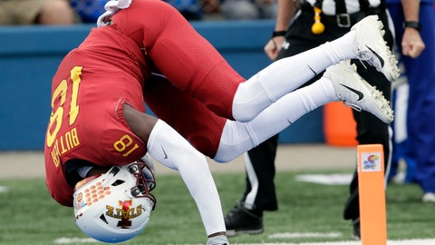 <p>               Iowa State wide receiver Hakeem Butler (18) dives in for a touchdown during the first half of an NCAA college football game against Kansas in Lawrence, Kan., Saturday, Nov. 3, 2018. (AP Photo/Orlin Wagner)             </p>