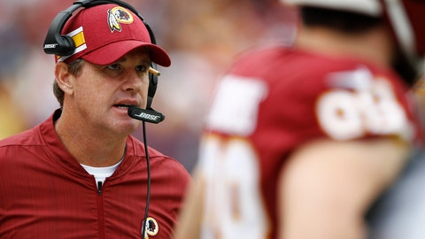 <p>               FILE - In this Oct. 14, 2018, file photo, Washington Redskins head coach Jay Gruden watches from the sidelines during the second half of an NFL football game against the Carolina Panthers in Landover, Md. Gruden occasionally has to remind people his team is in 6-3 and in first place. (AP Photo/Patrick Semansky, File)             </p>